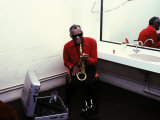 Ray Charles with His Alto Saxophone Backstage Posters