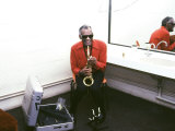 Ray Charles with His Alto Saxophone Backstage Photo