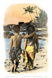 Young Sweethearts, Hand Colored Photo of Hawaiian Children Poster by Himani