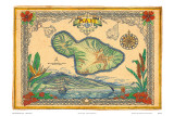 Vintage Style Map of the Island of Maui, Hawaii Prints by Steve Strickland