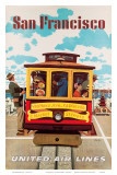 United Air Lines San Francisco, Cable Car c.1957 Prints by Stan Galli