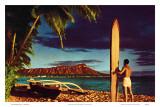 Outrigger & Diamond Head, Surfer, Oahu, Hawaii, c.1951 Posters by Stewart Fern