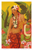 Topless Hawaiian Lei Vendor, Menu Cover, c.1950 Prints by J. Maybra