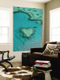 Australia, Queensland, Whitsunday Coast, Great Barrier Reef, Heart Reef, Aerial View Wall Mural by Walter Bibikow
