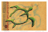 Hilihili Honu, Green Sea Turtle, Hawaiian Petroglyph Print by Lynn Cook