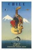 Scandinavian Airlines Chile, Gaucho Guitar, c.1951 Plakaty autor De Ambrogio