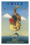 Scandinavian Airlines Chile, Gaucho Guitar, c.1951 Prints by  De Ambrogio