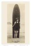 The Surf-Rider Hawaii, Girl with Surfboard, Photo Postcard c.1920 Poster by Ray Jerome Baker