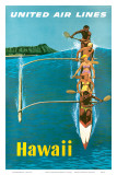 United Air Lines, Hawaii, Outrigger Canoe Posters by Stan Galli