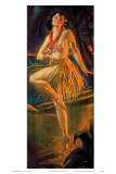 Firelight Hula, Hawaiian Pin-up Girl, c.1920s Posters by Gene Pressler