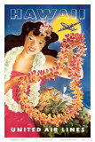 Hawaii, United Air Lines, Hawaiian Girl with Leis, c.1949 Posters by Feher 