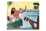 Hula Greeting on Boat Day, Honolulu Harbor, Hawaii, c.1930 Affiches