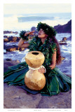 Grateful, Hula Girl with Ipu Drum, Hawaii Posters by Ronald Laes