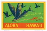 Flying Fish, Aloha Hawaii, c.1940 Prints