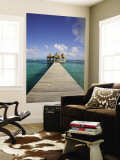 Belize, Ambergris Caye, San Pedro, Ramons Village Resort Pier and Palapa Wall Mural by Jane Sweeney