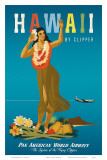 Hawaii By Clipper, Pan American Airways, Hula Girl, c.1950 Prints by Atherton