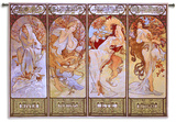 Les Saisons Wall Tapestry by Alphonse Mucha
