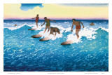 Surf Riders Honolulu, Hawaii, c.1925 Prints by Charles W. Bartlett