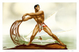 Hawaiian Net Fisherman with Outrigger, c.1930s Poster by  Gill