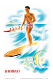 Matson Lines to Hawaii, Surfer and Outrigger, c.1940s Posters by Frank MacIntosh