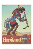 Santa Fe Railroad, Hopiland, Native American Hopi Indian, Arizona, 1940s Art by Don Perceval
