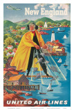 United Airlines New England, c.1940 Print by Joseph Feher