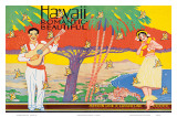 Hawaii Romantic Beautiful, Tourist Booklet Cover, 1940's Prints by W. Taylor