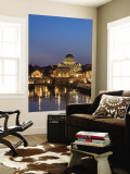 St Peter's Basilica and Ponte Sant'Angelo, Rome, Italy Wall Mural by Michele Falzone