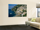 Amalfi Coast, Coastal View and Village, Positano, Campania, Italy Reproduction murale géante par Steve Vidler