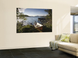 Boat on Lake Kilpisjarvi, Kilpisjarvi, Arctic Circle, Lapland, Finland Wall Mural by Doug Pearson