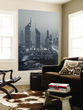 United Arab Emirates, Dubai, Sheik Zayed Road, Emirates Towers Mural por Walter Bibikow