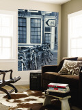 Holland, Amsterdam, Bicycle Sign and Traditional Amsterdam Houses Mural por Gavin Hellier
