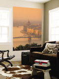 Chain Bridge and Danube River, Budapest, Hungary Wall Mural by Jon Arnold