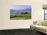 Val d'Orcia, Countryside View, Farmhouse and Green Grass and Hills, Tuscany, Italy Wall Mural by Steve Vidler