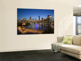 Australia, Queensland, Brisbane, Story Bridge with Riverside Centre Highrises Wall Mural by Walter Bibikow