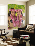 Polynesian Girls in Traditional Costume with Leis, Aitutaki, Cook Islands, Polynesia Wall Mural by Steve Vidler