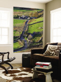 Country lane and houses, Snowdonia, North Wales Wall Mural by Peter Adams