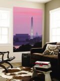 Lincoln and Washington Memorials and Capitol, Washington D.C. Usa Wall Mural by Walter Bibikow