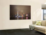 China, Shanghai, Pudong Skyline Across Huangpu River Wall Mural by Gavin Hellier