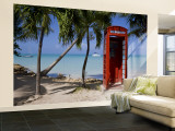 Caribbean, Antigua, Dickenson Bay, English Red Telephone Box Wall Mural – Large by Gavin Hellier