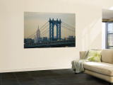 Empire State Building and Manhattan Bridge, Manhattan, New York City, USA Reproduction murale géante par Jon Arnold