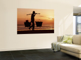 Kuta Beach, Local Vendor, Sunset, Bali, Indonesia Wall Mural by Steve Vidler