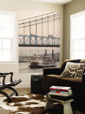 Riverboat on Ohio River and, Roebling Suspension Bridge, Cincinnati, Ohio, USA Wall Mural by Walter Bibikow