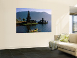 Lake Bratan, Pura Ulun Danu Bratan Temple and Boatman, Bali, Indonesia Wall Mural by Steve Vidler