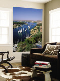 Nile River, Feluccas on the Nile River and Old Cataract Hotel, Aswan, Egypt Wall Mural by Steve Vidler