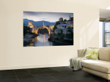 Mostar and Old Bridge over the Neretva River, Bosnia and Herzegovina Wall Mural by Gavin Hellier