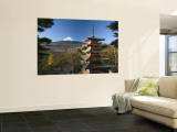 Mount Fuji and Temple, Fuji-Hakone-Izu National Park, Japan Wall Mural by Gavin Hellier