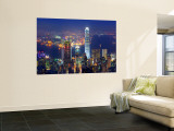Victoria Harbour and Skyline from the Peak, Hong Kong, China Wall Mural by Michele Falzone