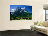 Town and Mountains, Grindelwald, Alps, Switzerland Mural por Steve Vidler