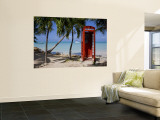 Caribbean, Antigua, Dickenson Bay, English Red Telephone Box Reproduction murale géante par Gavin Hellier